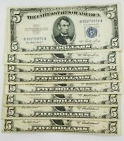 1953 Five Dollar Blue Seal Note Silver Certificate Old US Bill $5 Free Shipping