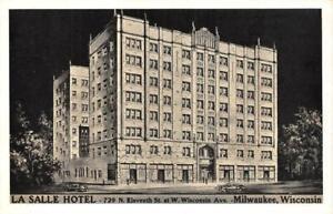 MILWAUKEE, Wisconsin WI   LA SALLE HOTEL Night View  ca1940's Lumitone Postcard