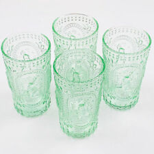 Green Easter Bunny Hobnail Glass Vintage Look Water Beverage Glasses Set of 4