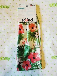 Scunci No Damage Headwrap White Floral Tropical Pink Flowers New