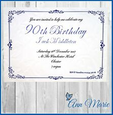 10 x 90th PERSONALISED BIRTHDAY PARTY INVITATIONS BIRTHDAY INVITES + ENVELOPES