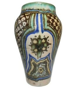 EARLY-MID 20TH C VINT MOROCCAN ARABESQUE, HAND DEC ISLAMIC ART POTTERY CER VASE
