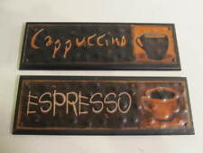 "Wall Décor Signs Plaques Tin on Wood ""Espresso"" & ""Cappuccino"""