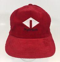 Vtg 80s 90s RYERSON Metal Corduroy Trucker Baseball Hat Cap Red Made in USA