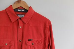 Vintage Wrangler needle cord corduroy shirt orange | M | orange/red