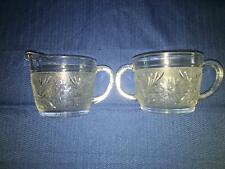 Vintage ANCHOR HOCKING sandwich glass daisy pattern clear creamer sugar bowl set