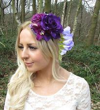 Purple Lilac Rose Flower Fascinator Races Rockabilly Headband Headpiece 50s 2244