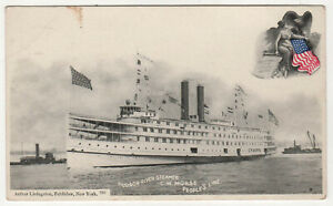 STEAMER MORSE PC Postcard USS C W MORSE ID-1966 People's Line NEW YORK Albany