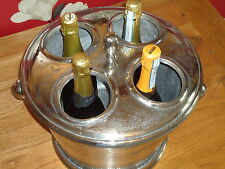 Wine Champagne Cooler 4 Bottle With Nickel Vintage Finish -Ice Bucket Bar Rack