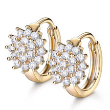 Retro Diamond Clear Topaz Flower Gold Filled Lady Women Wedding Hoop Earrings
