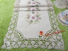 "Shabby~Hand Crochet Ribbon Embroidered Table Runner~16""*55""~Beige~Cottage Chic~"