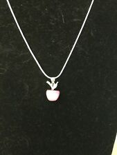 Opal Cat Eye Silver Plated Apple Pendant Necklace Great For TEACHER APPRECIATION