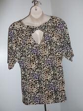 Ella Samani plus 1X 2X 3X beige purple leopard stretch open back shirt