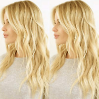 Glueless Malaysian Virgin Human Hair Lace Front Full Wig Straight Wavy Blonde sn