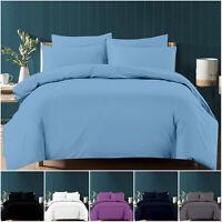 Brushed Fabric Plain Duvet Quilt Cover 200TC Polycotton Bedding Set & Pillowcase