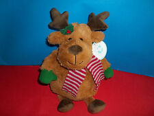 """Christmas Brown MOOSE Plush Soft 13"""" Soft Red Stripped Scarf Stuffed Animal NWT"""