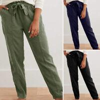 ZANZEA UK Women Elastic Waist Casual Loose Cargo Pants Cotton Trousers Plus Size