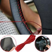 "Universal 14""-15"" Car Steering Wheel Cover+Needle &Thread Luxury Cowhide Leather"