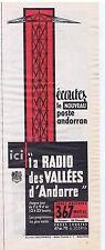 PUBLICITE ADVERTISING 104 1960 RADIO des VALLEES D'Andorre 367 mètres