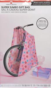 Pink Flower Christmas Gift Bag Jumbo Cord Tie Tag Wrap Extra Large Gifts Bike