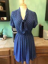 Vtg 80s Jody California Blue Polka Dot Rockabilly Sailor Dress Size Sm