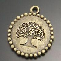 18pcs/lot Retro Bronze 21mm Engraved Life Tree Pendants DIY Jewelry Accessories