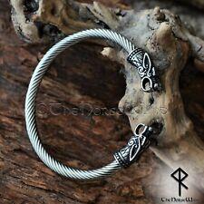 Viking Cuff Bracelet Fenrir Wolf Mens Bangle Silver Solid Bjorn Wristband