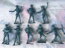 "Lot of 8 Vintage Metallic Blue Army Men MPC / LIDO 5"" 1960s"