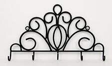"Black Hand Forged Wrought Iron Scroll Design 18"" Hanging Wall Rack with 5 Hooks"