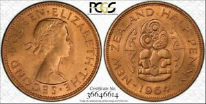 1964 NEW ZEALAND HALF PENNY PCGS MS65RD BU UNCIRCULATED ONLY 2 GRADED HIGHER