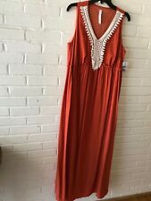 9eefdc57d7b NY Collection Plus Size Crochet-trim Crinkle Maxi Dress Size 1x   10b 399 N