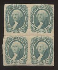CIVIL WAR ERA CONFEDERATE 20 cent POSTAGE STAMPS Block of 4