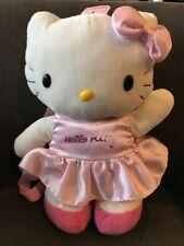 "HELLO KITTY BACKPACK 16"" PLUSH PILLOW STUFFED Rare  PINK DRESS BOW CUTE"