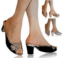 Nuevo Diamante de Mujer Al Talón Tacón Mediano Fiesta Boda Zapatos sin Cierres