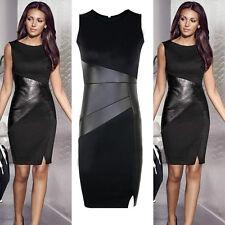 Sexy Women Slim Bodycon Leather Evening Party Cocktail Clubwear Black Mini Dress
