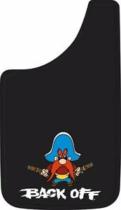 yosemite sam back off guns protect easy fit 11x19 mud guards flaps mudflaps new