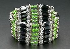 Magnetic Therapy Wrap Bracelet Necklace Anklet Hematite Beads Green Crystals