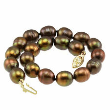 "14k Solid Yellow Gold Clasp Bracelet / 9 x10mm Peacock Cultured Pearls 9.5"" Long"