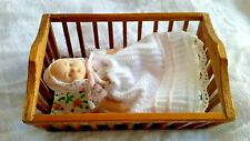 "DELTON 2"" CERAMIC BABY DOLL WITH HANDMADE WOOD CRIB CHRISTENING DRESS VINTAGE"