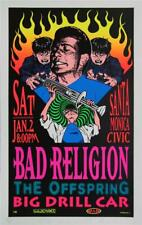 TAZ BAD RELIGION AND OFFSRING SILKSCREEN ROCK CONCERT POSTER SIGNED NUMBERED