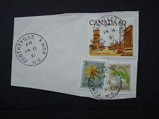 3 TIMBRES sur papier Postes Canada Mark Centreville, Kings County Nova Scotia