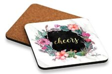 """Kelly Lane Cork Backed Desrt Chic """"Cheers"""" Coasters Set of 6"""