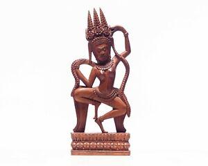 Antique Wood Sculpture Dancing Apsara Statue, Bali , Cambodian Figure