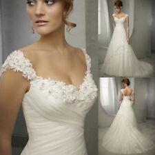 Neu A-Linie Weiß/Elfenbein Organza Herzenform Brautkleider Hochzeitskleider