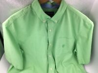 MENS CHAPS VILLAGE GREEN AND WHITE SHORT SLEEVE SHIRT button down collar SIZE XL