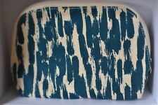 Limited edition Origins cream and turquoise fabric zipped cosmetic bag 19x13cm