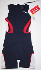 Tyr Womens Xs Navy Blue Red White Shortjohn Zipperback Triathlon Swim Carbon New