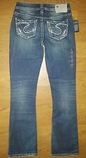 NEW Silver Aiko Bootcut Dark Low Rise Stretch Jeans Sz 24 X 31