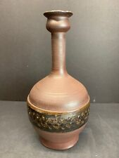 "VTG Gerry Williams 1965 Earthenware Vase Brown Long Neck Pottery Signed 11"" Tall"