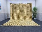 "Moroccan Handmade Beni Ourain Rug 7'8""x9'8"" Berber Checkered White Golden Rug"